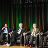 Tom Davis, Rector, George Mason University Board of Visitors, The Honorable John R. Kasich, Governor of Ohio, The Honorable Terence McAuliffe, Governor of Virginia, Ángel Cabrera, President, George Mason University and Mark J. Rozell, Dean Schar School of Policy and Government.    Photo by Ron Aira/Creative Services/George Mason University