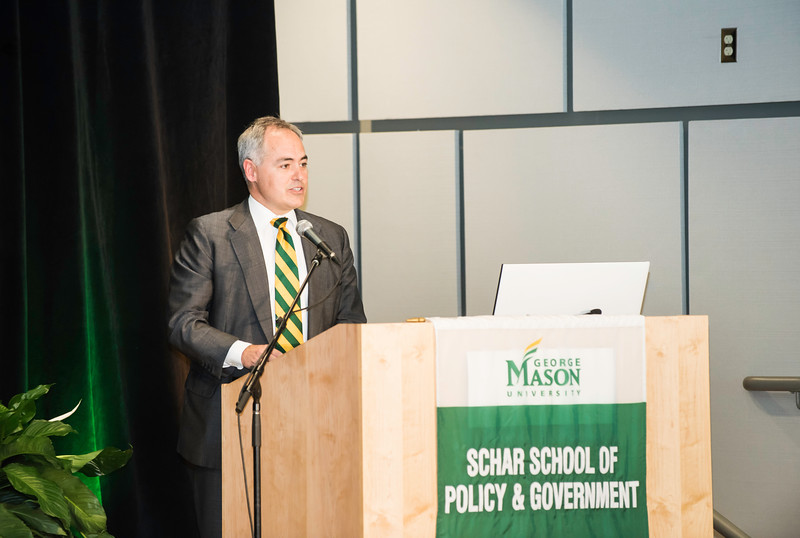 Ángel Cabrera, President, George Mason University speaks during the Schar School of Policy and Government Dedication.  Photo by Ron Aira/Creative Services/George Mason University