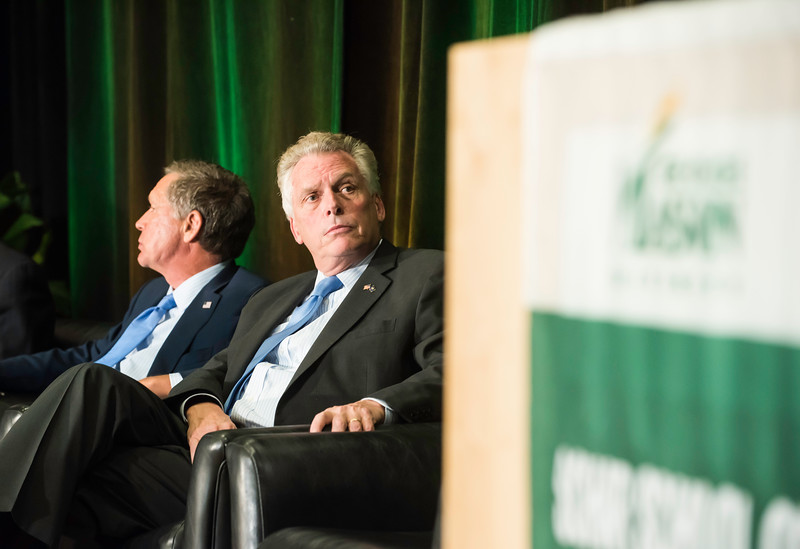 The Honorable Terence McAuliffe, Governor of Virginia during the Schar School of Policy and Government Dedication.  Photo by Ron Aira/Creative Services/George Mason University