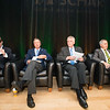 Tom Davis, Rector, George Mason University Board of Visitors, The Honorable John R. Kasich, Governor of Ohio, The Honorable Terence McAuliffe, Governor of Virginia, Ángel Cabrera, President, George Mason University at the Schar School of Policy and Government Dedication. Photo by Ron Aira/Creative Services/George Mason University