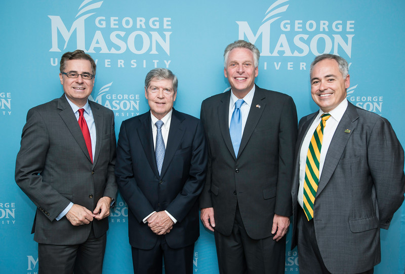 Mark J. Rozell, Dean Schar School of Policy and Government, Dwight Schar, The Honorable Terence McAuliffe, Governor of Virginia, and Ángel Cabrera, President, George Mason University, prior to the Schar School of Policy and Government Dedication.  Photo by Ron Aira/Creative Services/George Mason University