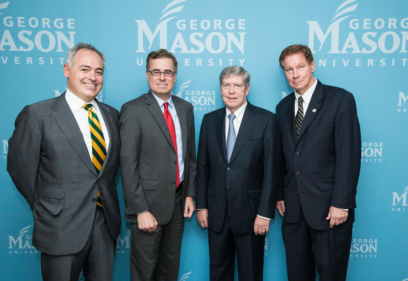 Ángel Cabrera, President, George Mason University, Mark J. Rozell, Dean Schar School of Policy and Government, Dwight C. Schar, and Tom Davis, Rector, George Mason University Board of Visitors prior to the Schar School of Policy and Government Dedication.  Photo by Ron Aira/Creative Services/George Mason University