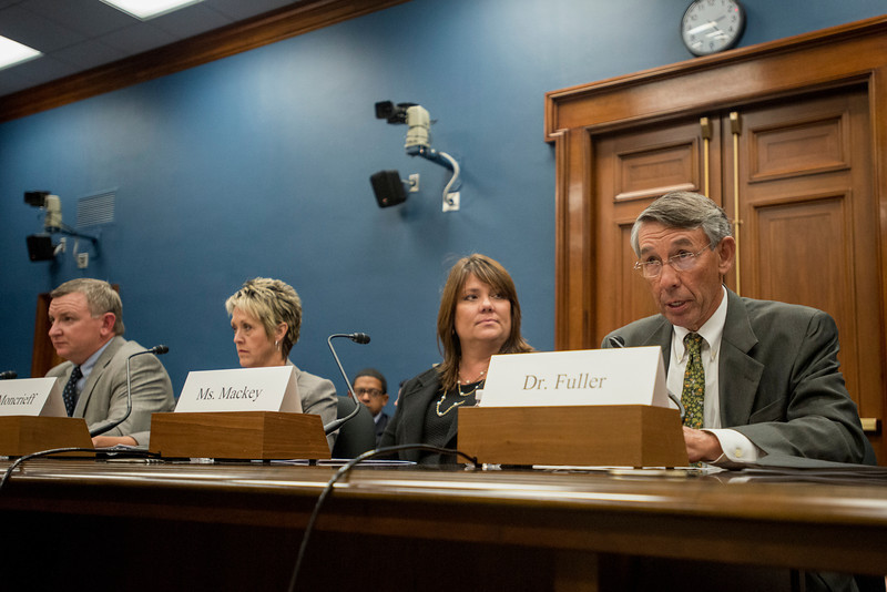 Stephen Fuller (R), University Professor and Director of Center for Regional Analysis in the Schar School of Policy and Government,  testifies at a House Committee on Small Business hearing on sequestration on Capitol Hill in Washington DC. Photo by Alexis Glenn/Creative Services/George Mason University