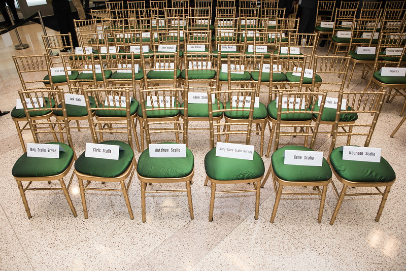 Seating arrangements for the Scalia family at the Antonin Scalia Law School Dedication.  Photo by:  Ron Aira/Creative Services/George Mason University