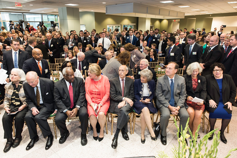 Justices of the Supreme Court, (left to right) Anthony M. Kennedy, Clarence Thomas, Stephen G. Breyer, Samuel Anthony Alito and Sonia Sotomayor at the Antonin Scalia Law School Dedication.  Photo by:  Ron Aira/Creative Services/George Mason University