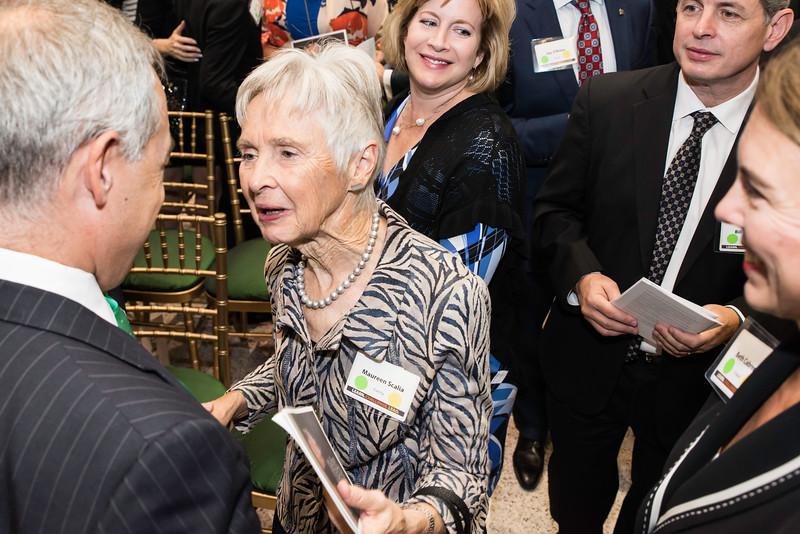 Ángel Cabrera, president, talks with Maureen Scalia at the Antonin Scalia Law School Dedication.   Photo by:  Ron Aira/Creative Services/George Mason University