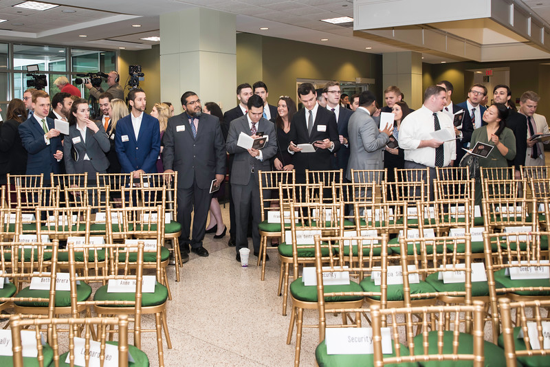 Students ready for the event at the Antonin Scalia Law School Dedication.  Photo by:  Ron Aira/Creative Services/George Mason University