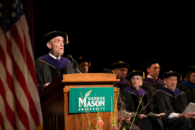Dean Daniel Polsby speaks at the School of Law Convocation 2012. Photo by Alexis Glenn/Creative Services/George Mason University