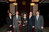 "(L to R) Law School students  Kristen Kugel, Chief Justice, ""defendant"" Timothy Cronin, ""plaintiff"" Azadeh Malek, Catherine Brown, Vice Justice, and Matthew Perushek, Managing Justice pose after they competed in the Law School's final round of the First Year Moot Court Competition at US District Court, Eastern District of Virginia, in Alexandria. Photo by Alexis Glenn/Creative Services/George Mason University"