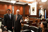 Law School Dean Daniel Polsby (R) and Assistant Dean Richard Kelsey arrive at the Law School's final round of the First Year Moot Court Competition at US District Court, Eastern District of Virginia, in Alexandria. Photo by Alexis Glenn/Creative Services/George Mason University