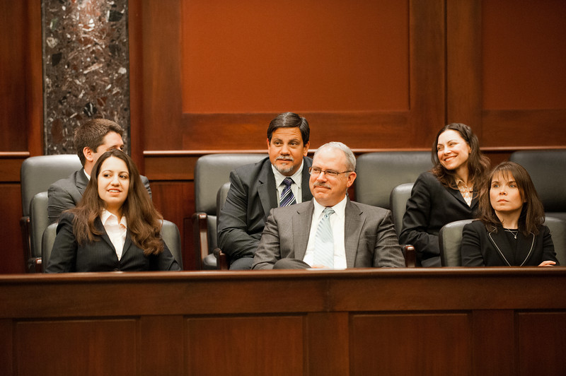 Law School faculty and staff attend the Law School's final round of the First Year Moot Court Competition at US District Court, Eastern District of Virginia, in Alexandria. Photo by Alexis Glenn/Creative Services/George Mason University