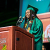 Sophia G. Upshaw gives the graduating student address during the Volgenau School of Engineering Degree Celebration.  Photo by:  Ron Aira/Creative Services/George Mason University