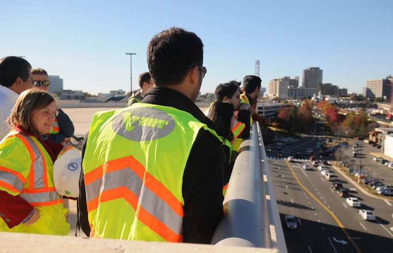 101112025 - Civil Engineering faculty member, Ronaldo Nicholson, takes students on a field visit to the HOT Lanes project in Tysons Corner, VA. Photo by Evan Cantwell.