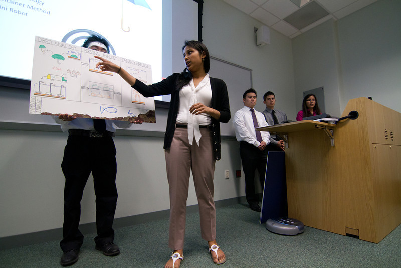 Students present their finals for CEIE 411 in Innovation Hall.