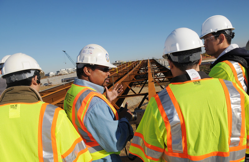 Civil Engineering faculty member, Ronaldo Nicholson, takes students on a field visit to the HOT Lanes project in Tysons Corner, VA.