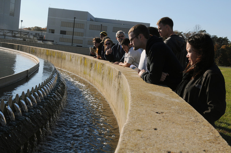 Civil Engineering students tour water treatment plant. Photo by Evan Cantwell/Creative Services/George Mason University