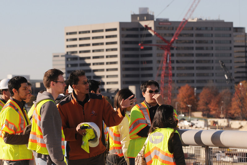 101112055e - Civil Engineering faculty member, Ronaldo Nicholson, takes students on a field visit to the HOT Lanes project in Tysons Corner, VA. Photo by Evan Cantwell.