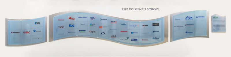 The Volgenau School of Engineering donor wall.  Photo by Ron Aira/Creative Services/George Mason University