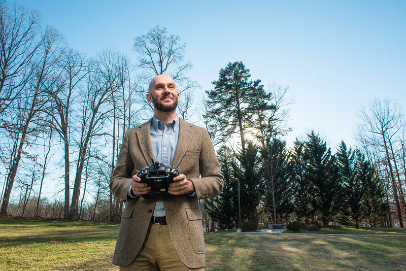 David Lattanzi, an assistant professor at Volgenau School of Engineering is pioneering a technique for bridge inspections using drones and 3-D modeling.  Photography by: Ron Aira/Creative Services George Mason University