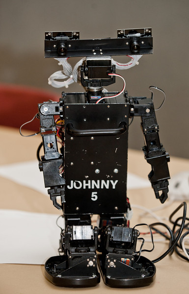 """Johnny 5"" a robot constructed by Mason's Robo Patriots Club is seen at Volgenau School's Engineers Day in Dewberry Hall at Fairfax Campus. Photo by Alexis Glenn/Creative Services/George Mason University"