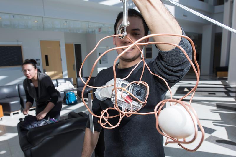 Zipline Egg Drop during Engineers Week at Volgenau School of Engineering.  Photo by Ron Aira/Creative Services/George Mason University