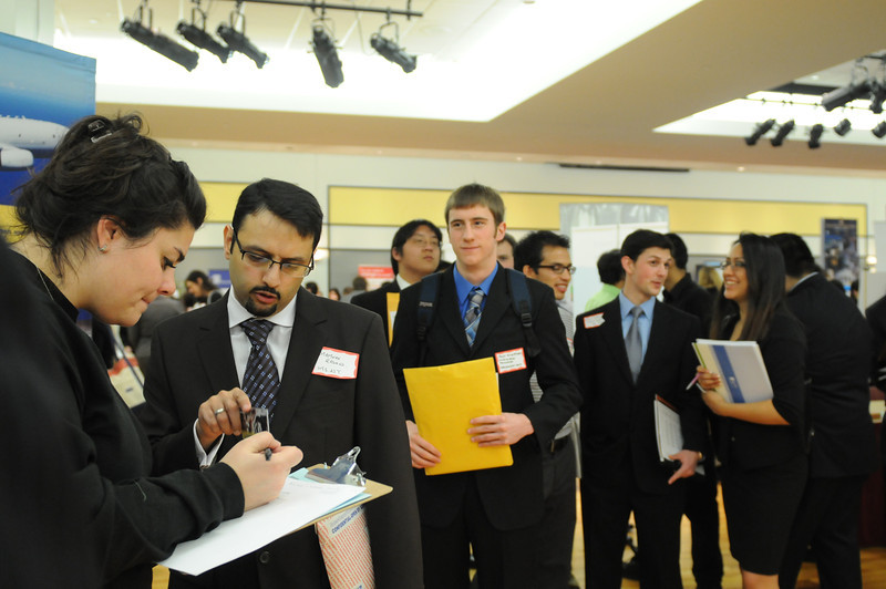 Students speak with employers at the 2010 Job Fair.
