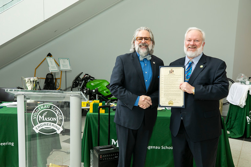 2020 Engineers Week Kickoff and Proclamation with City of Fairfax Council-member Michael J. DeMarco.  Photo by:  Ron Aira/Creative Services/George Mason University