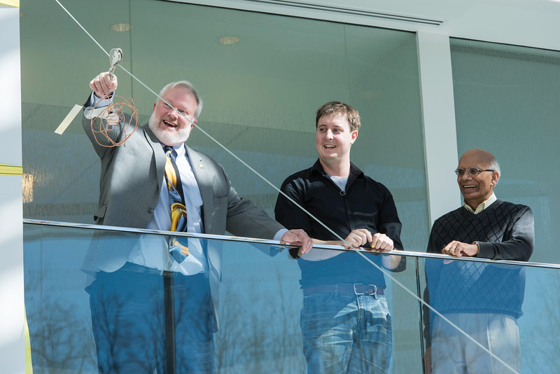 Dean Kenneth Ball, Associate Professor Dan Lofaro, and Associate Professor Alok Berry at the Zipline Egg Drop during Engineers Week at Volgenau School of Engineering.  Photo by Ron Aira/Creative Services/George Mason University