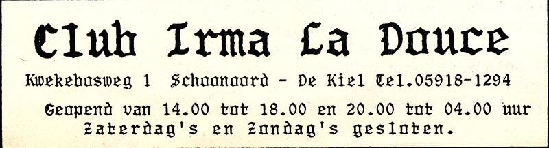 advertentie Club Irma la Douce, 1982