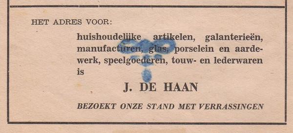 advertentie J. de Haan, 1954