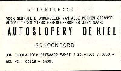 advertentie autosloperij De Kiel, 1982