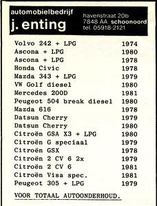 advertentie J. Enting automobielbedrijf, 1982