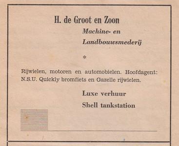 advertentie H. de Groot en zoon, 1954