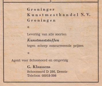 advertentie G. Klaassens, 1954