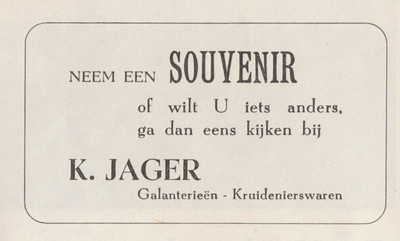 advertentie K. Jager, 1954