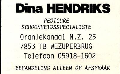 advertentie Dina Hendriks, 1982