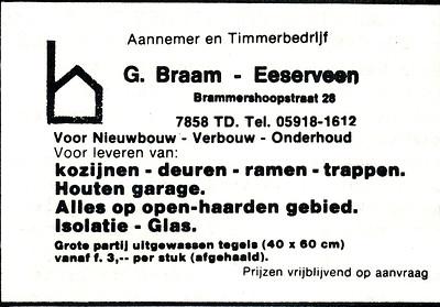 advertentie G. Braam Eeserveen, 1982.