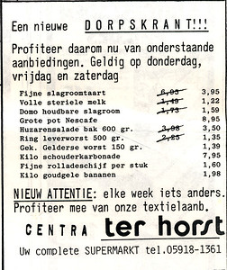 advertentie Centra ter Horst, 1982