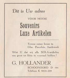 advertentie G. Hollander, 1954
