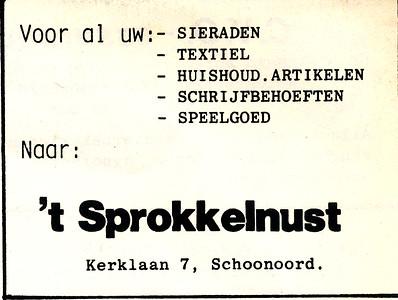 advertentie 't Sprokkelnust, 1982