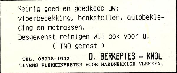 advertentie D. Berkepies-Knol, 1982