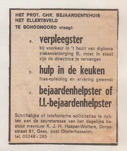 Personeelsadvertentie HET ELLERTSVELD 1967