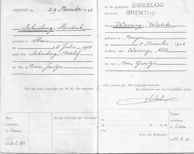Familieboekje Schuiling en Warring, 29-11-1946