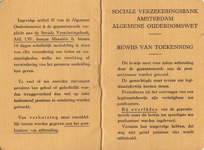 AOW toewijzing Jan Groote 1956