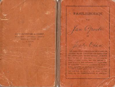 1919 Familieboekje Jan Groote en Jantje Otten