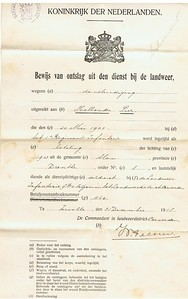 Pier Hollander ontslagbrief van de Landweer in 1918