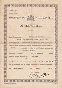 1934 ontslagbrief Landstorm Gerrit Hekkema