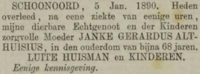 Janke Gerardus Althuisius, 5-1-1890 overlijdensadvertentie