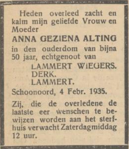 Anna Geziena Alting, 4-2-1935, overlijdensadvertentie