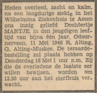 Martje Alting, 11-5-1946, overlijdensadvertentie